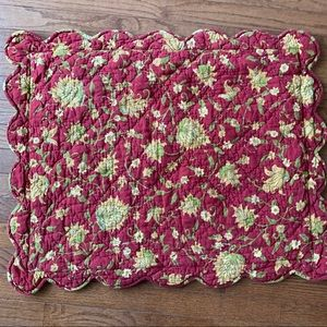 Pottery Barn quilted reversible red floral sham